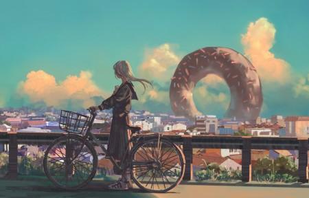 梦 少女 单车 圈饼 4k动漫高端电脑桌面壁纸