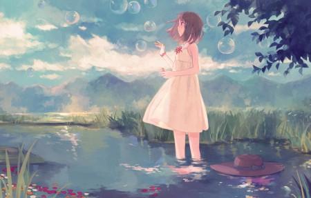 河塘 水 小女孩 泡泡 4k动漫高端电脑桌面壁纸
