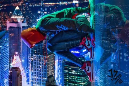 宙迈尔斯·莫拉莱斯 蜘蛛侠平行宇 城市风光4k壁纸超高清图片下载