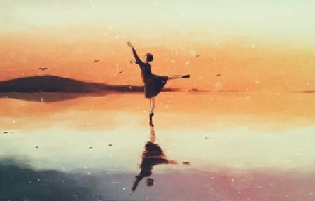 傍晚 女孩子 舞蹈 水 唯美意境6k动漫高端电脑桌面壁纸