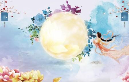 花丛月圆中秋背景4k图片素材