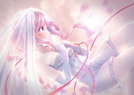 少女白色婚纱裙子4k动漫高端电脑桌面壁纸
