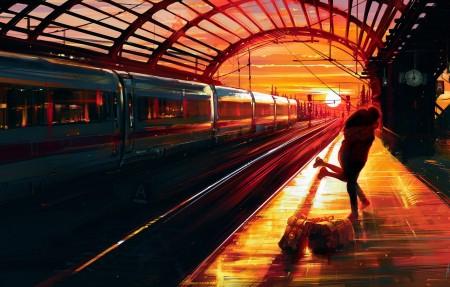 火车站日落绘画 恋人拥抱4k高清壁纸极品游戏桌面精选