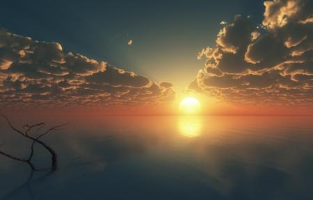 天空 云 海 日落 唯美意境风景3440x1440高端电脑桌面壁纸