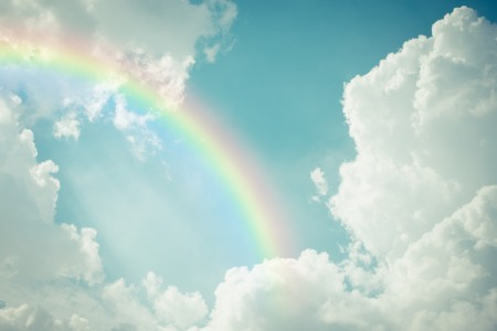 蓝天白云彩虹6k风景高端电脑桌面壁纸