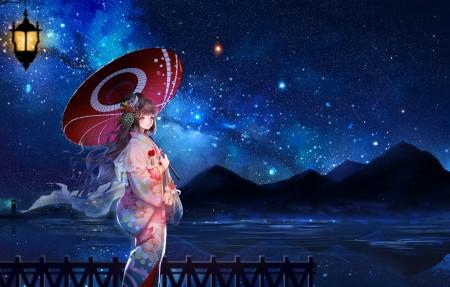 夜晚 星空 天空星星 少女和服 日本服装 伞 唯美4k动漫高端电脑桌面壁纸3840x2160