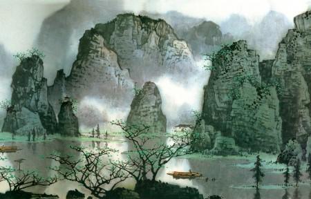水墨画桂林山水风景3840x1080高清高端电脑桌面壁纸