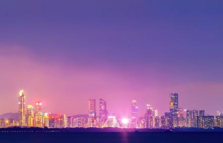 深圳福田夜景3440x1440高端电脑桌面壁纸