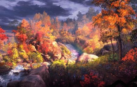 梦幻秋画 树 自然风景 水 小溪瀑布河流 秋天风景4k高端电脑桌面壁纸