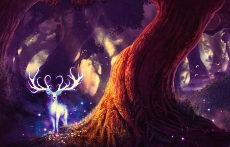 黑暗森林 鹿 幻想艺术 唯美意境3440x1440高端电脑桌面壁纸