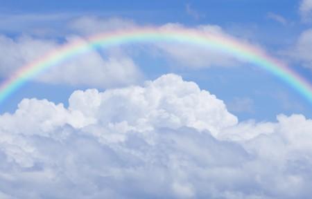 天空白云美丽彩虹3440x1440风景高端电脑桌面壁纸