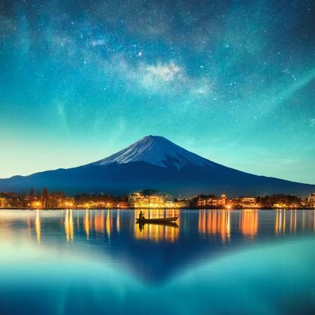 夜晚 星空 山 倒影 灯光 4k风景高端电脑桌面壁纸