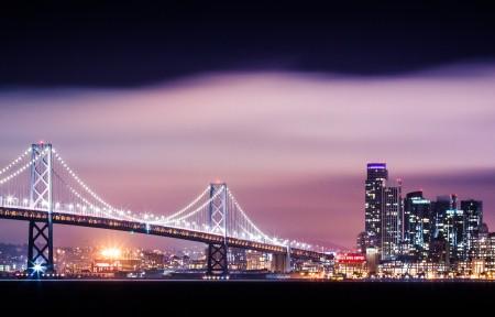 海湾大桥与旧金山摩天大楼城市夜景3440x1440高端电脑桌面壁纸