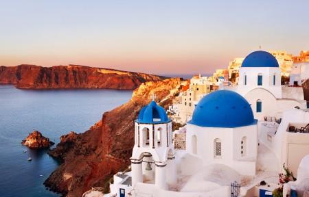 希腊圣托里尼岛3440x1440风景高端电脑桌面壁纸