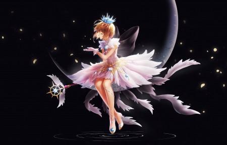 女孩 天使 魔法棒 樱花 4k动漫高端电脑桌面壁纸