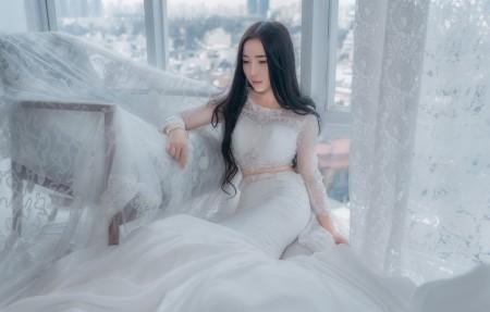 新娘 白色婚纱礼服4k高端电脑桌面壁纸