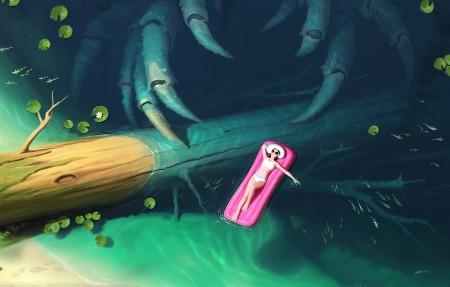 森林 水 鱼 比基尼泳衣女孩 插画 4k高端电脑桌面壁纸
