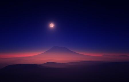朦胧月亮 山 4k风景高端电脑桌面壁纸