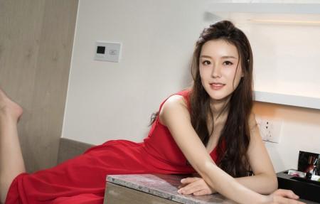 江琴 长发红色裙子苗条身材美女4k超高清壁纸精选