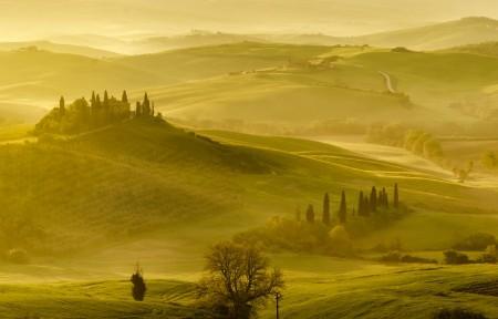 早上意大利托斯卡纳乡村风景3440x1440高端电脑桌面壁纸