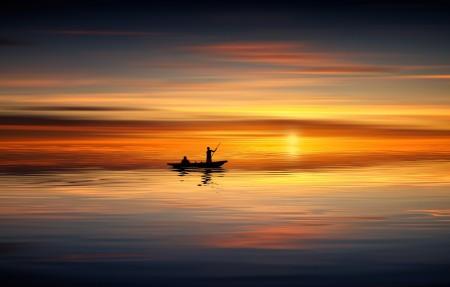 日落时人们在划艇4k高端电脑桌面壁纸