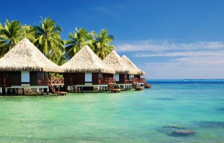 马尔代夫海边风景3440x1440高端电脑桌面壁纸