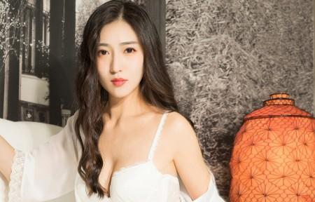 克拉女神姜璐 白色睡衣3440x1440美女高端电脑桌面壁纸