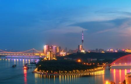 武汉长江大桥夜景3440x1440高端电脑桌面壁纸