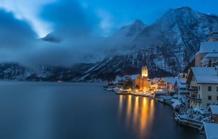 奥地利哈尔施塔特小镇冬季风景3440x1440高端电脑桌面壁纸