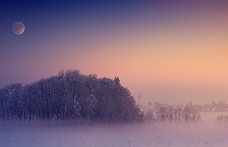 冬天 雾 村 月球 教会 光 雪 树木 寒冬 神秘 5k风景高端电脑桌面壁纸