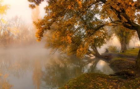 秋日清晨 城市 公园 秋景 渔夫 唯美意境风景4k超高清壁纸精选