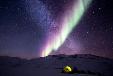 夜 极光 雪 北极 自然 阿拉斯加州 帐篷 露营 冒险 5k风景高端电脑桌面壁纸