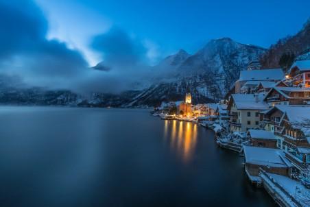 哈尔施塔特湖冬天风景4k高端电脑桌面壁纸