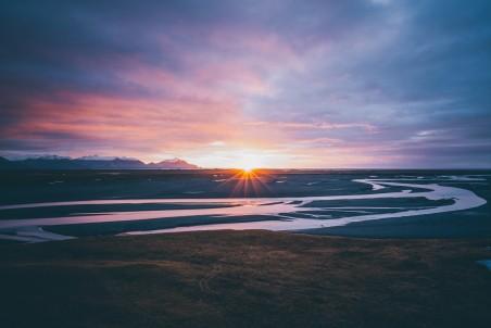 自然 冰岛 河 太阳 日出 日落 云 紫罗兰色 7k风景高端电脑桌面壁纸