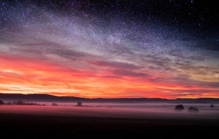 自然 日落 星夜 天空 星星 4k风景高端电脑桌面壁纸