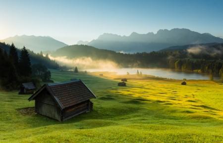 巴伐利亚 阿尔卑斯山 湖 房子 日出风景3440x1440高端电脑桌面壁纸