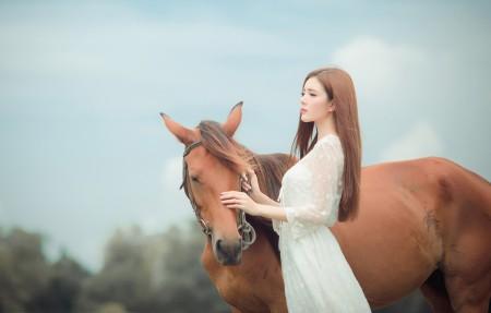 女孩美女 脸 棕色头发 长发 白色裙子 马 4k高端电脑桌面壁纸3840x2160