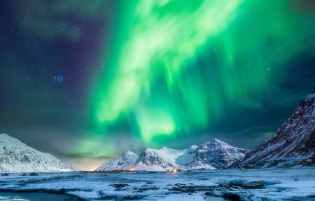 挪威极光风景4k高端电脑桌面壁纸3840x2160