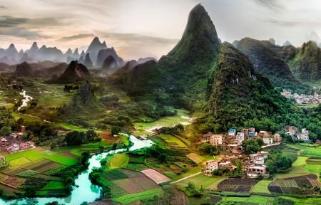 美丽的桂林山水风景5120x1440高清高端电脑桌面壁纸