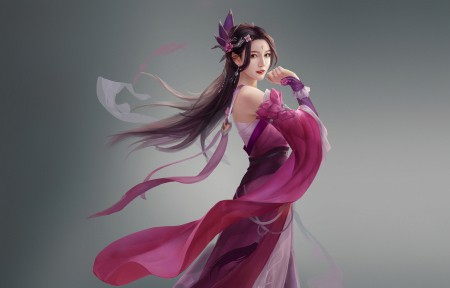 中国风古典美女玫瑰裙4k高端电脑桌面壁纸