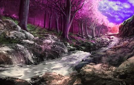 绘画 科幻 树木 森林 小溪 4k风景高端电脑桌面壁纸3840x2160