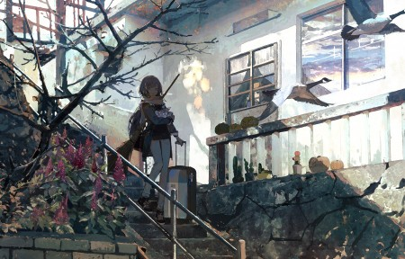 女孩 长头发 围巾 行李箱 楼梯 树 风景 5k动漫超高清壁纸推荐