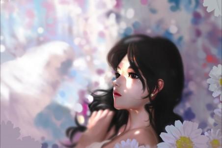 花中少女 雏菊花 4k动漫高端电脑桌面壁纸