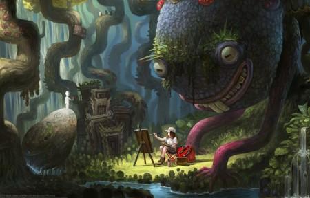 森林冒险的少女 画画 5k高清壁纸极品游戏桌面精选