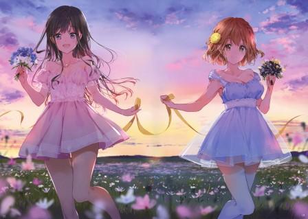 两个女孩 裙子 花朵 天空 日落 4k动漫超高清壁纸推荐