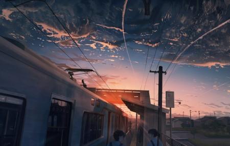 日落 天空 火车 云 电线 围墙 女孩 男孩 4k动漫高端电脑桌面壁纸