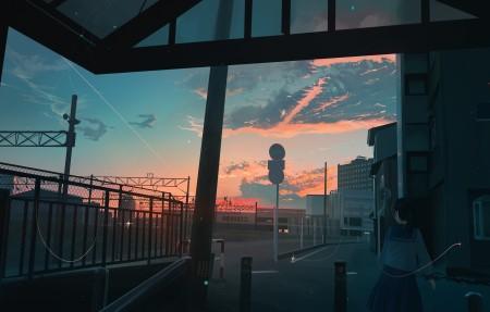 水手服女生 出口 插画 天空 夕阳 4k动漫高端电脑桌面壁纸