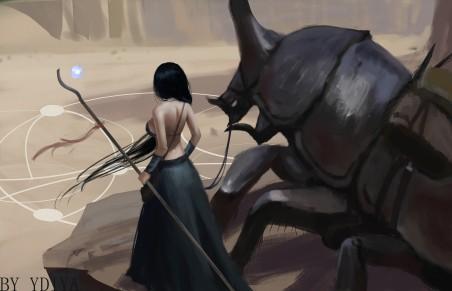 女子 魔杖 巨兽 4k动漫超高清壁纸精选