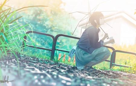 透明的雨伞 插画少女背景4k动漫高端电脑桌面壁纸