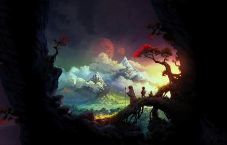 旅行者 孩子 奶奶 日落 高山 树 4k超高清壁纸推荐